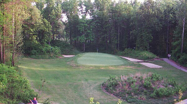 The view of the 130 yard 8th hole at Quail Crossing from its elevated tee.