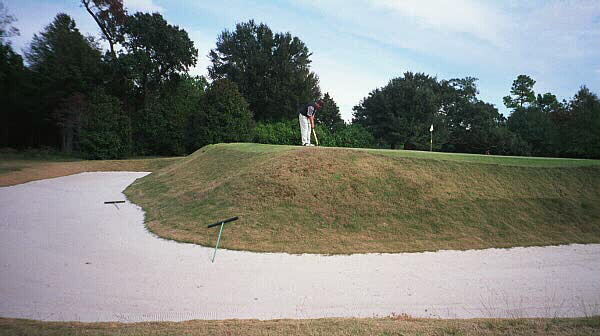 Yonce restored this wrap-around bunker behind the Short 3rd green.