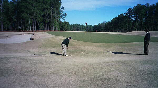 The worlds best will once again face such difficult recovery shots in June, 2005. Pictured is the 1st green on Pinehurst No.2.