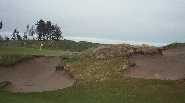 A ball that carries just over these bunkers bounces onto the 2nd green at Pacific Dunes.