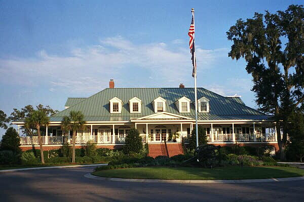 The clubhouse exudes southern charm with its wrap-around porch.