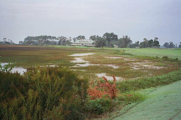 The 18th doglegs left along the marsh as it heads back toward the clubhouse.