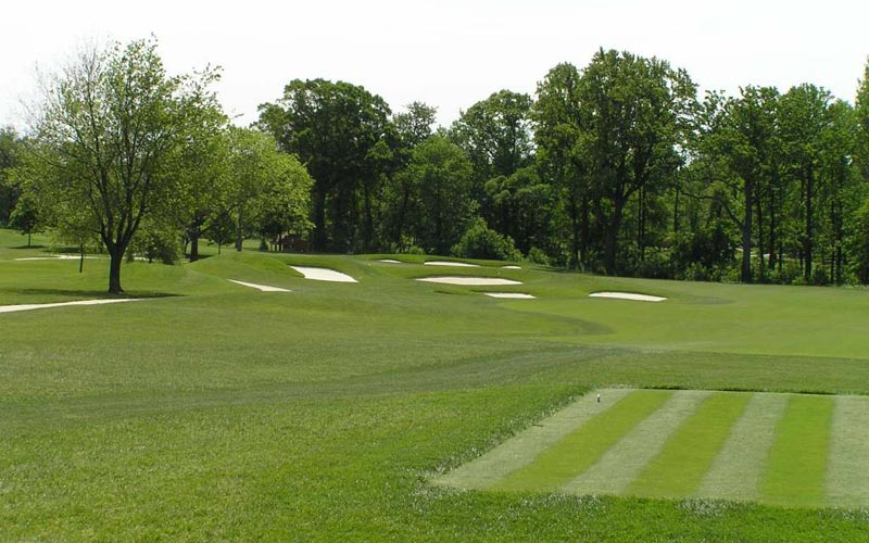 On the third hole the player must decide how much of the angle he should cut off in challenging the bunkers on this dogleg left.