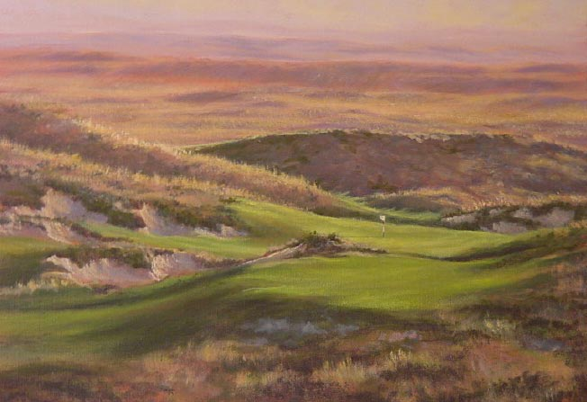 The one shot 3rd at Ballyneal, as painted by artist Josh Smith, captures Ballyneals inspired setting.