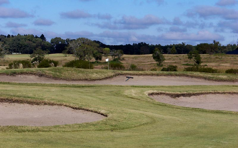 Hard to believe but the bunkers in the foreground are one hundred yards from the flag.