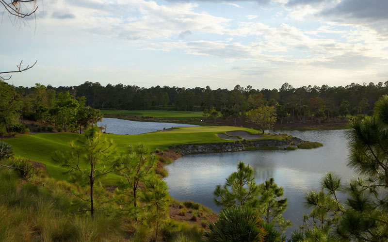 The par three sixteenth at Calusa Pines.