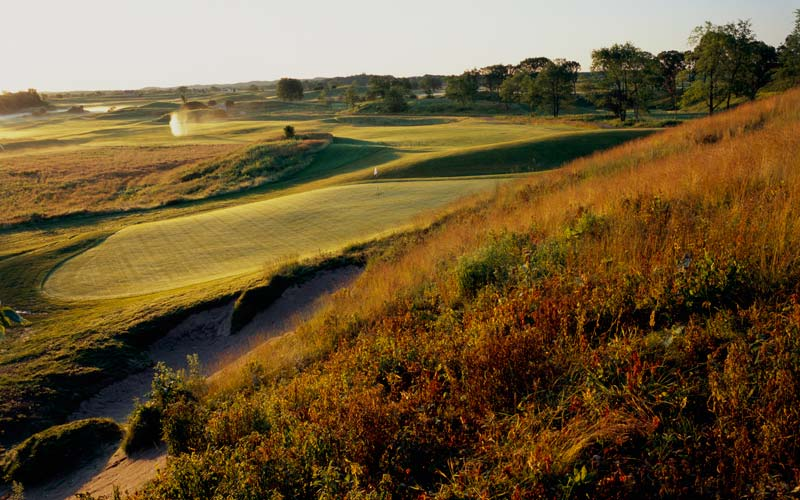 Of Erin Hills, Fry says: The natural contouring of Erin Hills allowed us to truly find golf holes. The fourteenth hole is a good example of this.