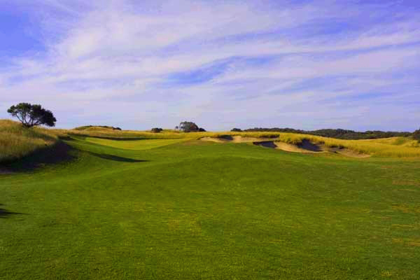 The thirteenth is an inspiring 452 metre par four over a dramatically tumbling fairway.