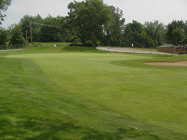 The first green at Hannastown is one of the steepest on the course.