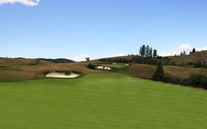 This rendering is from one of Weir Golf Designs potential sites for a new course. Note how the player would use the left to right sloping fairway to seek the best angle into the green.