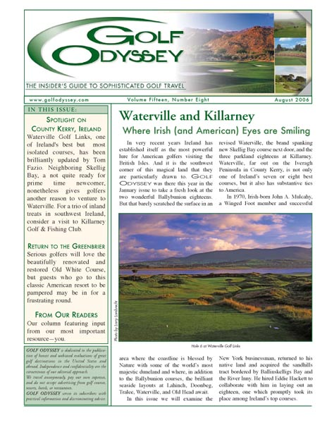 The August 2006 cover of Golf Odyssey.
