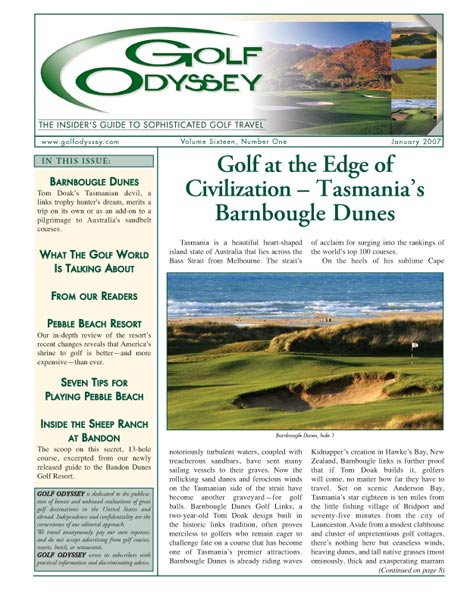 The January 2007 cover of Golf Odyssey.