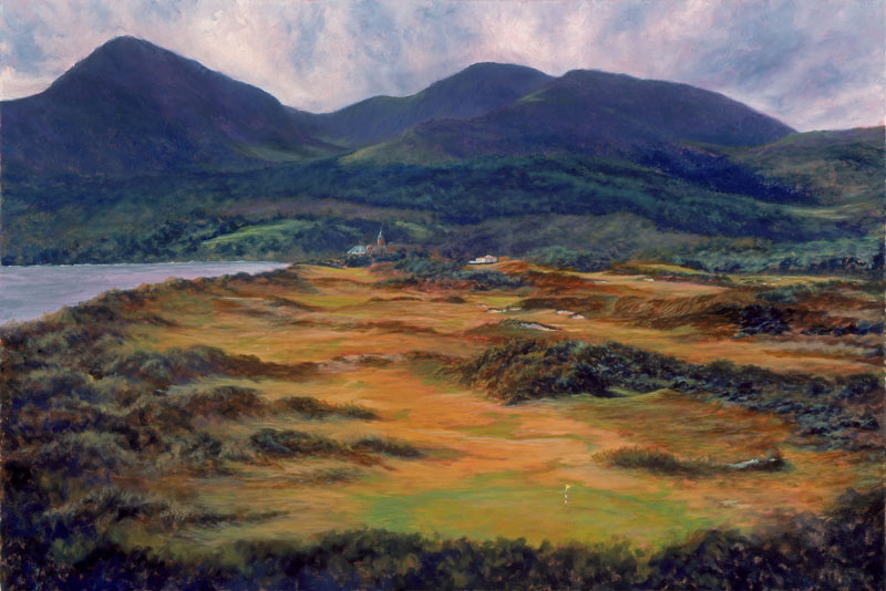 A recent painting of Royal County Down as seen from behind the third green.