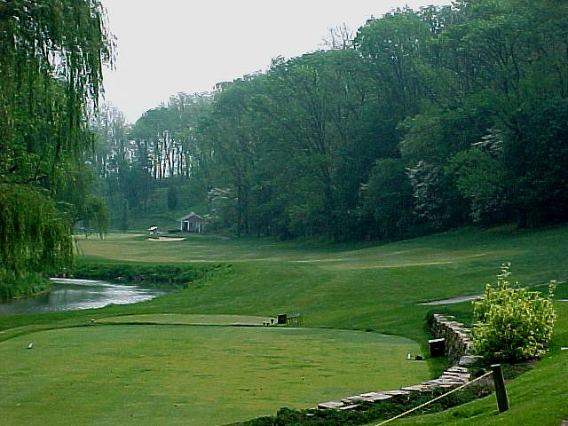 Picturesque par four 12th along the Lehigh stream
