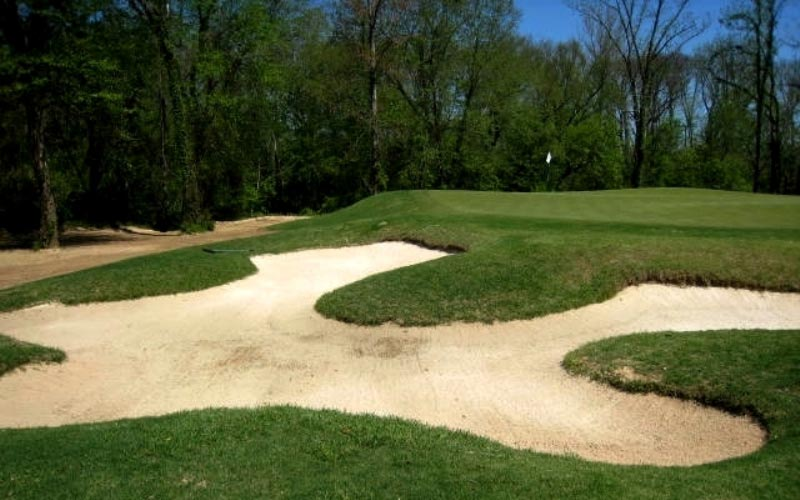 This is the front left bunker. The waste area can be seen on the left and the greens undulations are more evident.