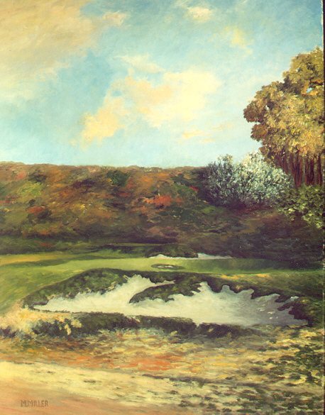 A phenomenal variety of colors is found in Millers painting of the 6th at Riviera.