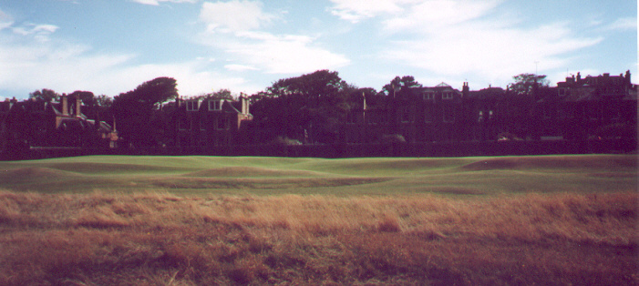 A side view of the amazing 16th green at North Berwick.  The red flag is just visible to the right (on the front part of the green).