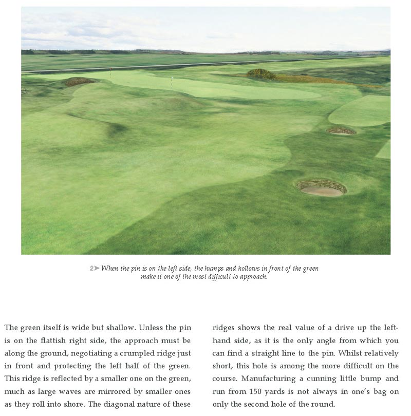 An excerpt from Experience The Old Course describing what to expect while playing the 2nd green complex.