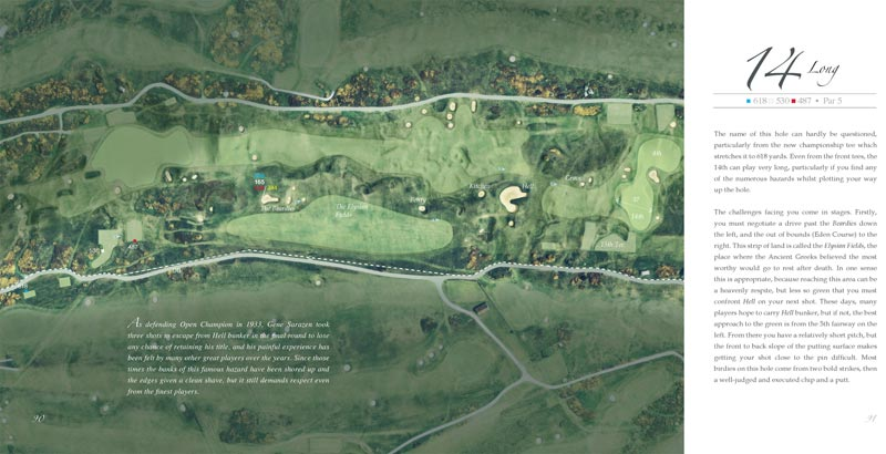 An aerial of the great 14th shows the different playing corridors.