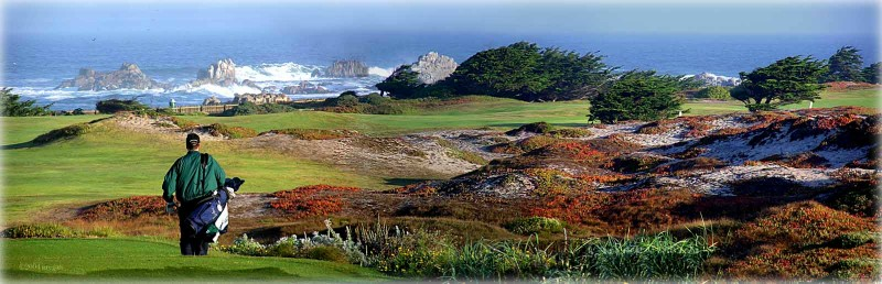 The expression the finest meeting of land and sea is echoed in this view from the 12th tee at Pacific Grove.