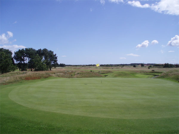 View from the far end of the course, behind the twelfth green. It is straight back to the clubhouse from here.