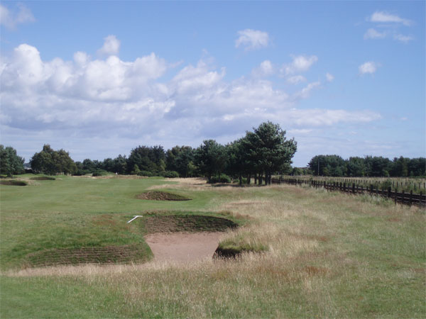 View from the right side of the par five fourteenth fairway, at around driving distance.