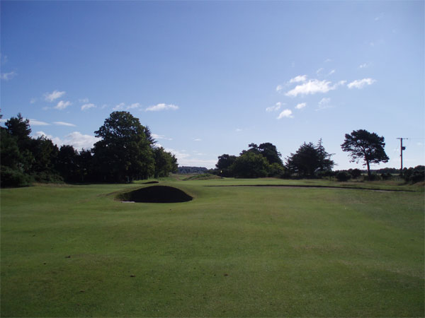 View from just short of the road on the par four sixteenth. It takes a very long drive to see this for your second shot.
