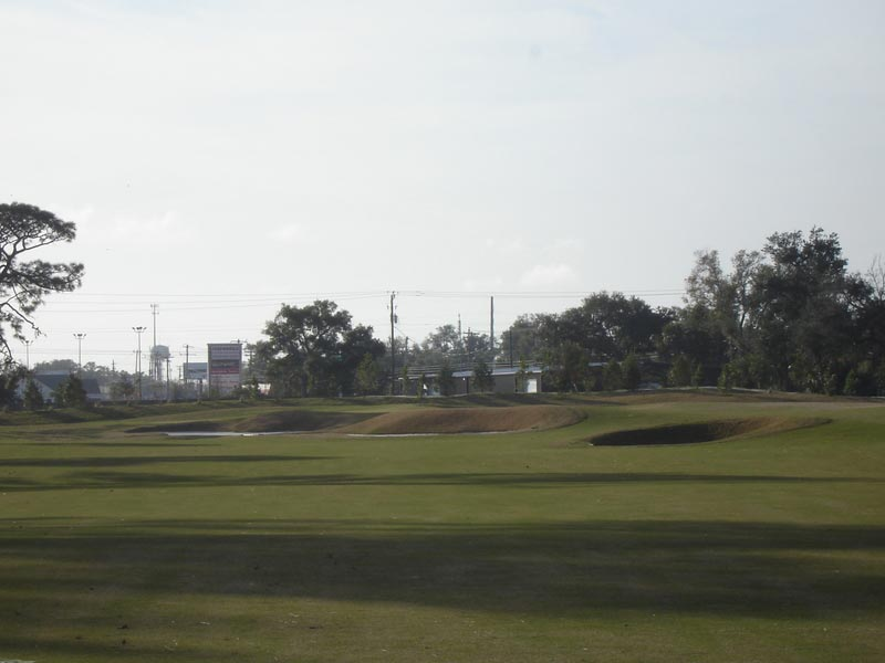 """Decision point at fourteen  """" safe left fairway to a shorter but more difficult pitch, or right fairway for an easier shot?  From the right side of the fairway, trees block the way and require a fade."""