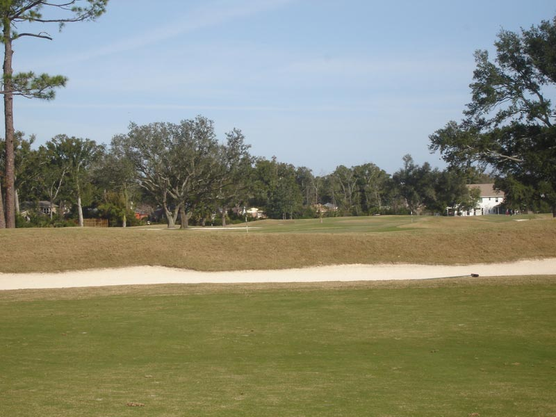 Third green as seen from the tee shot landing area, just the top of the flag visible.