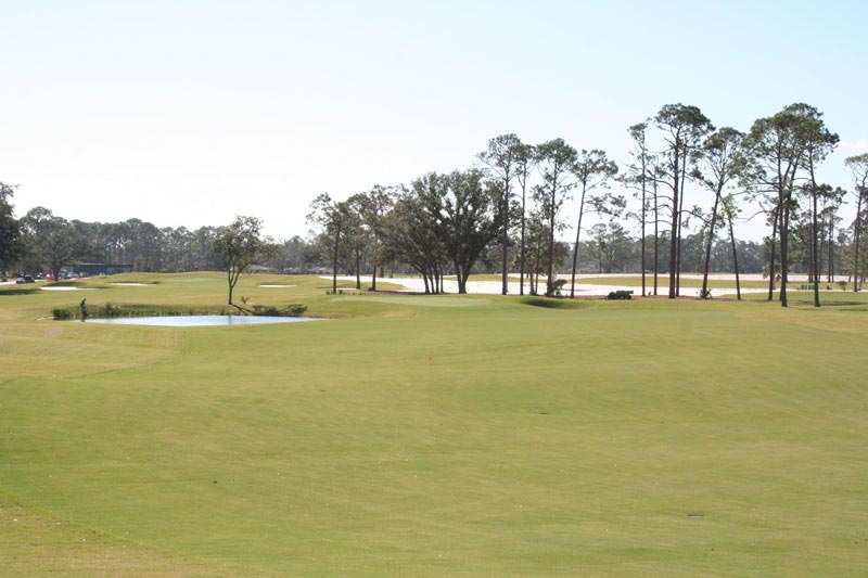 """Eight green as seen from the top of the ridge  """" well past all but the longest tee shots"""