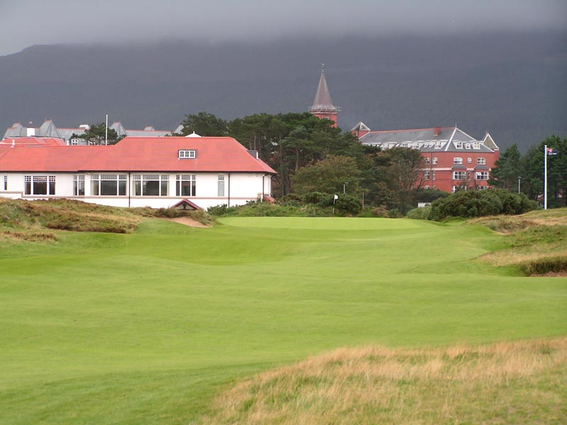 As with the 1st green at Pine Valley Golf Club, the 18th green at County Down is an extension of the fairway with sharp fall-offs on either side. Coming into this green with a long club for ones third is unlikely to end the round in a satisfactory manner.