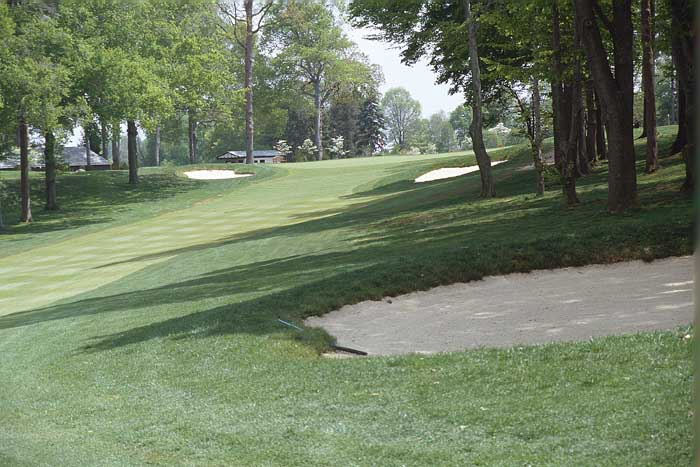 The large green sits at the top of the rise between two bunkers. Again a crowned front will slow any lofted shots into the green. There is plenty of room to run the ball up to the pin.
