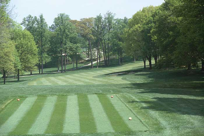 The elevated tee shot to the naturally rolling fairway that slopes right to left. Aim inside the bunkers for maximum roll and the ideal shot that ends up in the left fairway.