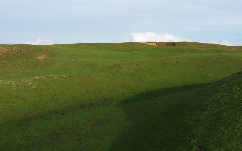 The approach to the 14th demonstrates why Pennard is often called the Links in the Sky.