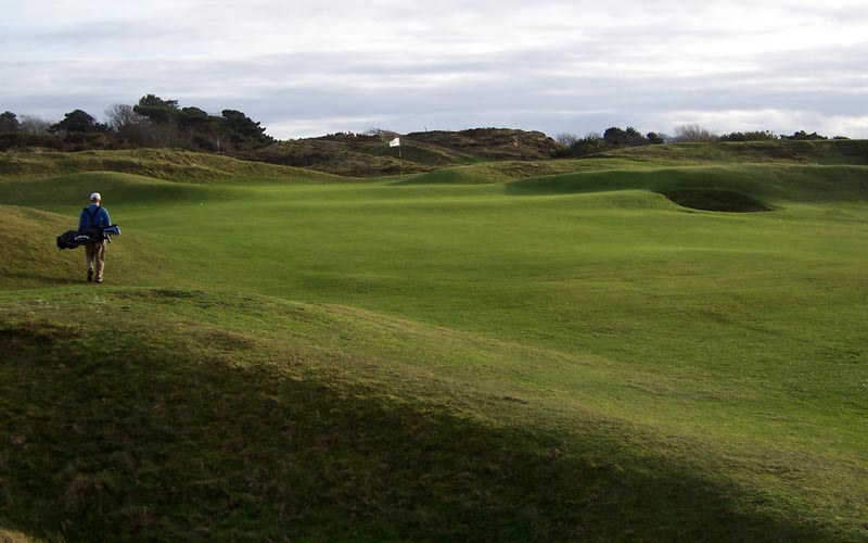 The 15th green viewed from just above the 10th.