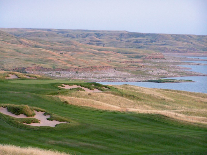 Late in the afternoon at Sutton Bay, looking down the long 16th.