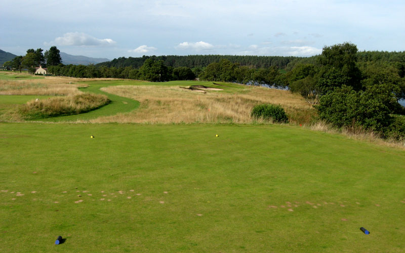 The golfers eyes on the 13th are drawn toward the right bunkers, making it all too likely for him to favor the left side and...