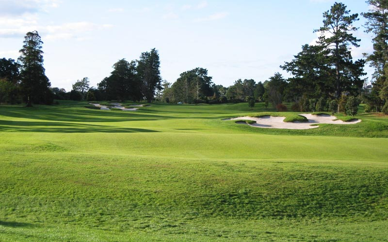 The par 5 fifth hole, as viewed from the tee.
