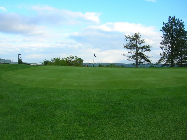 Shots not reaching the flag are liable to run off the extended false front of this horizon green.
