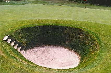 MacDonalds version of the Road Hole bunker - the seventh at The National.