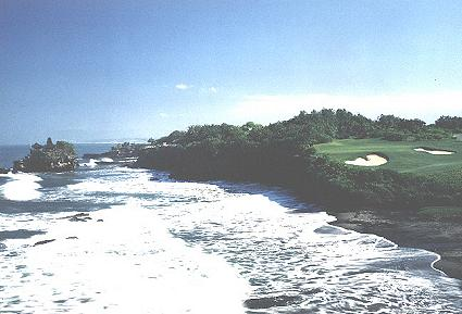 Easy to see why the Nirwana Bali course is a favourite - this is the view from the tee of the 185 yard 7th.