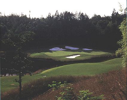 This lake on the 3rd at Osaka is actually 120 feet above the natural ground level.