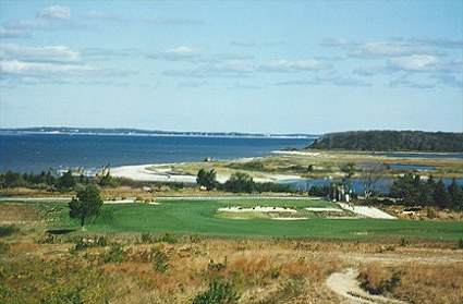 The view from the seventeenth at the National Golf Links of America.
