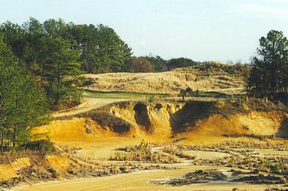 There is not much to maintain from the tee to the start of the fairway on the 18th hole at Tobacco Road.