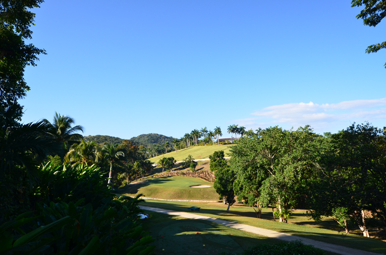 After the uphill approach to the ninth, the golfer faces the steeply downhill tenth ...
