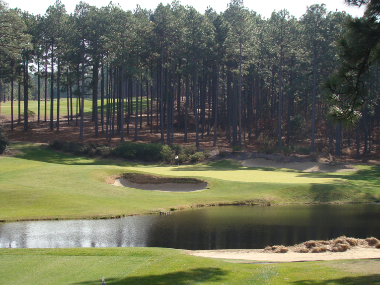 This photograph was taken three months later than the one above with Forest Creek now showing its winter colors. Golfers from as far away as Toronto have long made the drive to the Pinehurst area during winter months so as to enjoy the firm playing conditions that the sandy soil base provides.