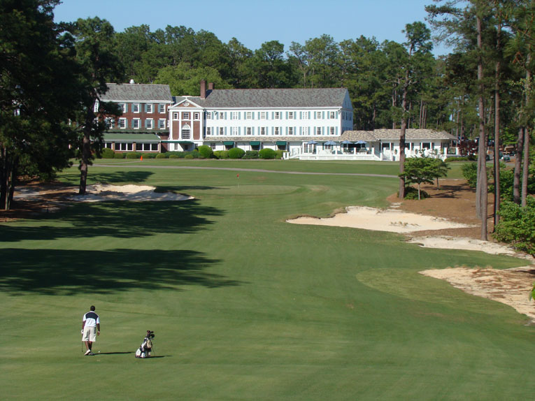 ... as one rounds the bend on this slight dogleft left, bringing the Mid Pines Hotel more into view.