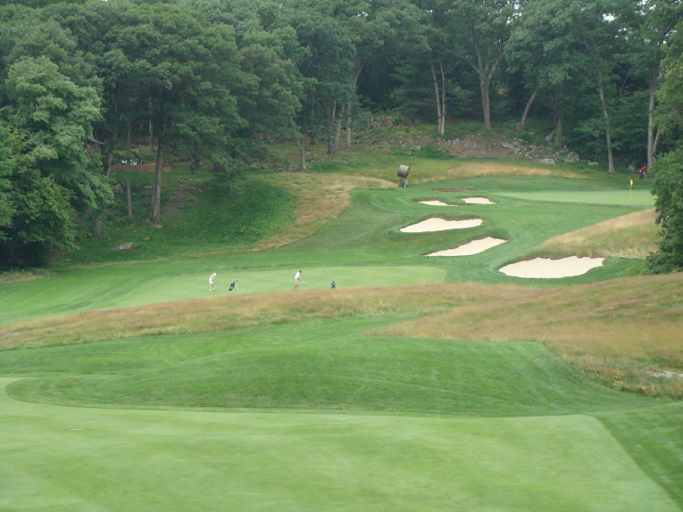 The tiger shortens the hole by carrying the rock ledge on the right.