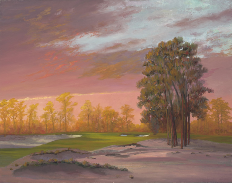 """Day's Last Glow"" is the result of my late found interest in the beauty of the ""Luminist"" painting style of the late 19th century. I have come to believe that the Luminists, Frederick Church, Albert Bierstadt, John Frederick Kensett, and the Hudson River school painters lead by Thomas Cole, were the best landscape painters that era (or any era for that matter) had to offer. As I hope can be seen here, Luminism emphasizes atmosphere and play of light while still keeping the integrity of a representative landscape as an integral part of the painting. As I have from the beginning, I continue to insist that golf architecture be rendered faithfully and accurately in golf landscape paintings. After all, it is the art of the great golf architects that golf landscape paintings celebrate and, hopefully, bring to life. I believe there is no better style to accomplish that end than Luminism."