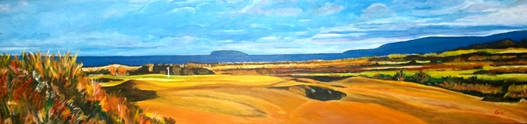This panoramic view across Cabot Links shows the Gillis Mountains to the north and Margaree Island out in the Gulf of St. Lawrence. Rod Whitman's low profile features do nothing to distract the eye from the glorious environment.